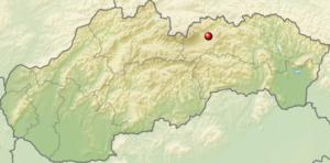 poloha spisskej belej na mape slovenska