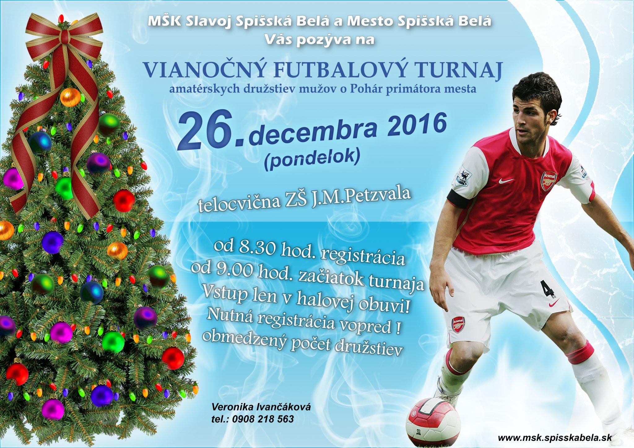 Vianočný futbalový turnaj 2016 - plagát