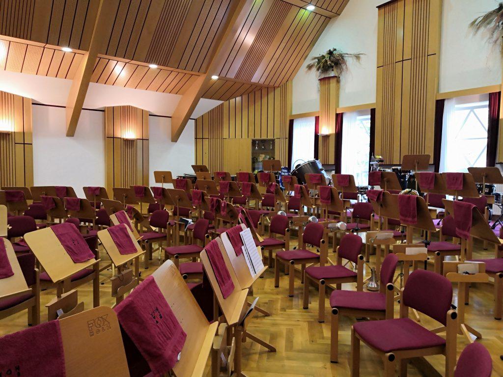 Koncertná sála v umeleckej škole v Biberbachu.
