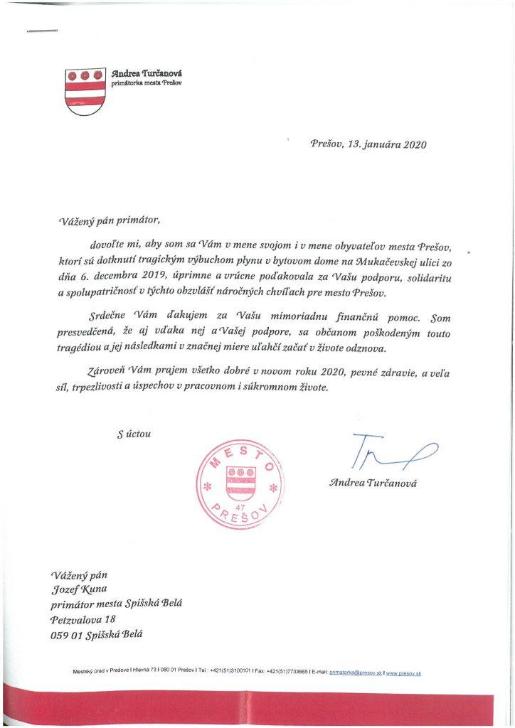 Poďakovanie primátorky Prešova za prejavenú pomoc