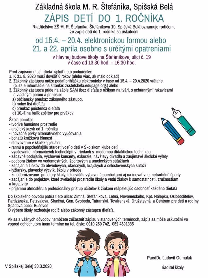Zápis do 1. ročníka ZŠ M. R. Štefánika